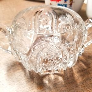 Glass double handle sugar bowl